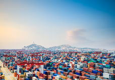container yard at dusk in shanghai yangshan deep water port Stock Images