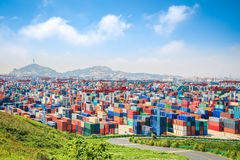 container yard at dusk in shanghai yangshan deep water port royalty free stock photos