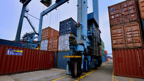 Container yard operation, Xiamen, China Royalty Free Stock Images