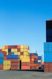 Containerbahnhof Stockbild