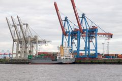Containerbahnhof in Hamburg. Lizenzfreies Stockfoto