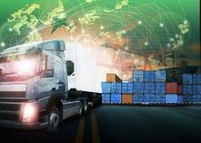 Containerfahrzeug, Schiff im Hafen und Frachttransportflugzeug im transpo Lizenzfreie Stockfotografie