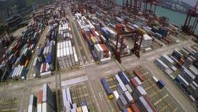 Containerhaven 4K luchtschot stock video