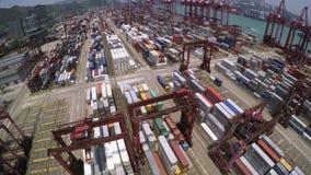 Containerhaven 4K luchtschot stock videobeelden
