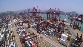 Containerhaven Mooi 4K Luchtschot stock videobeelden
