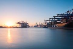 Containerhaven van Hamburg Royalty-vrije Stock Fotografie
