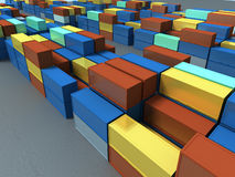 Containers. Rows on Freight Station stock illustration