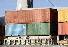 Containers. Several containers on the vessel ready to be unloaded Royalty Free Stock Images