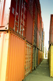 Containers. Stacks of shipping containers at a port Stock Photo