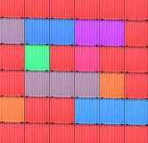 Containers. Background of multi-colored freight shipping containers at the docks Royalty Free Stock Photo