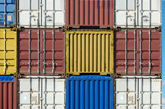Containers. Waiting for transport in port of antwerp stock photography