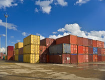 Containers. Bulk of containers in a dockyard stock photo