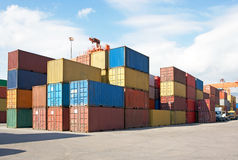Containers AR bij de haven, Vracht Transportatio Stock Fotografie