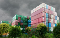 Containers from around the world Stock Photo