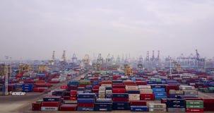 Containers bij haven in nevelige ochtend stock video