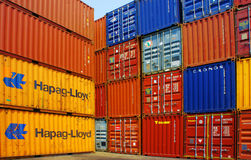 Containers bij ladingsdepot, Ho-Chi-Minh-Stad Royalty-vrije Stock Foto's