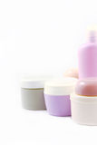 Containers of body care products Stock Photo