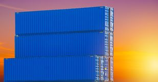 Containers box from Cargo freight ship for import royalty free stock photos