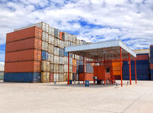 Containers box stacking in location for transportation at check Stock Image