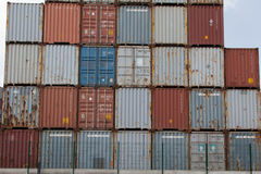 27 CONTAINERS CAPACITY AND EVEN. DIFFERENT COLOURS stock images