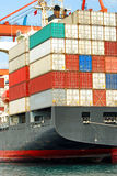 Containers. Cargo container ship in istanbul Stock Photo