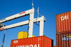 Containers with cargo Stock Photos