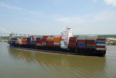 Containers on cargo ship Royalty Free Stock Images