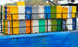 Containers on the cargo ship. Stock Photography