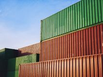 Containers Cargo shipping Logistic freight warehouse Import export industry. Business Background stock image