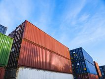 Containers Cargo shipping Logistic freight warehouse Transport Business royalty free stock photo
