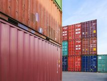 Containers Cargo shipping Logistic freight warehouse Transport Business. Containers Cargo shipping Logistic freight warehouse Transport Import Export Business royalty free stock photo
