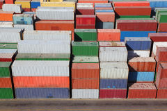 Containers for cargo transportation on ship Stock Photos