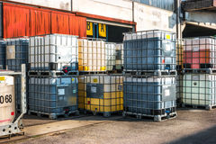 Containers for chemical products Stock Photo