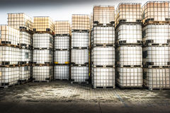 Containers for chemical products Royalty Free Stock Images