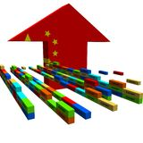 containers and Chinese flag arrow Stock Image