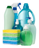Containers with cleaning supplies Stock Image