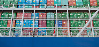 Containers. Close-up of containers on a cargo ship Royalty Free Stock Images