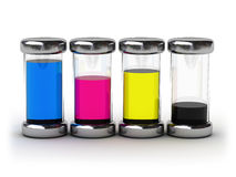 Containers with CMYK ink. (image can be used for printing or web Stock Image