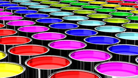 Containers of color rainbow Royalty Free Stock Photos