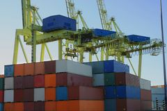 Containers and container crane. S in a major port Royalty Free Stock Image