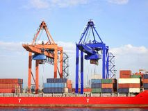 Containers and cranes Royalty Free Stock Images