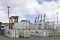 Containers and cranes in the port of Montevideo Stock Image