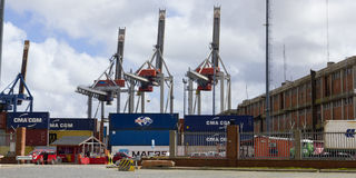Containers and cranes in the port of Montevideo Stock Images