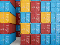 Containers. 3d rendering Stock Photos