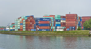 Containers Depo. Rotterdam Port. Containers depo at the port dock. Rotterdam, Netherlands Royalty Free Stock Photography