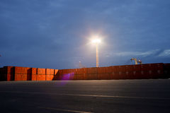 Containers on the dock. At night Royalty Free Stock Photography