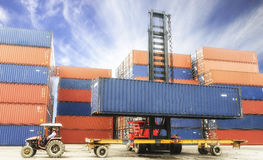 Containers at the Docks with Truck Royalty Free Stock Photography