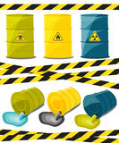 Containers with explosive and reactive substances, waste of chemical industry. Flow of dangerous toxic chemicals. Oil. Vector Royalty Free Stock Images