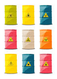 Containers with explosive and reactive substances, waste of chemical industry. Vector. Illustration Stock Photography