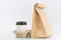 Containers for fast food and beverages. Recyclable materials stock images